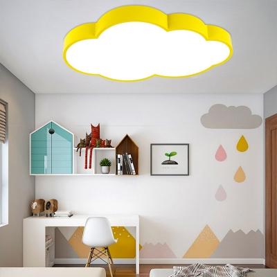 Yellow/Blue/Orange LED Light Fixture Lovely Cloud Shape Acrylic Ceiling Mount Light for Kindergarten