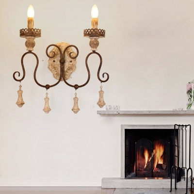1/2 Lights Candle Shape Wall Light Antique Style Wood and Metal Sconce Light for Foyer Hallway
