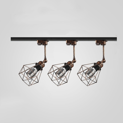 1 Head Cage Frame Ceiling Light Industrial Metal LED Track Lighting in Black/Rust for Stage