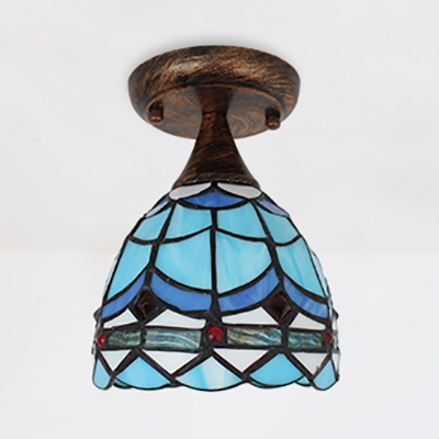 1 Light Ceiling Light Tiffany Style Stained Glass Flush Mount Light for Living Room Hallway