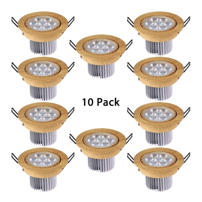 (10 Pack)3.5-4 Inch Round Recessed Light 7W Wireless LED Flush Mount Light in White/Warm for Bedroom