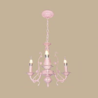 3/5/6 Lights Candle Chandelier Traditional Metal Hanging Light with Flower in Blue/Pink for Hotel