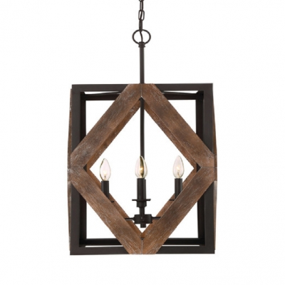 4 Lights Square Shade Chandelier, Square Metal And Wood Chandelier