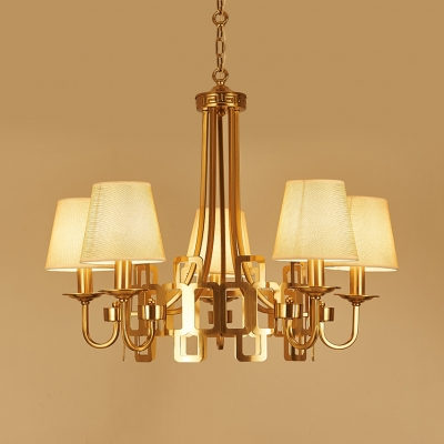 5 Lights Tapered Shade Chandelier Elegant Metal and Fabric Suspension Light in Brass for Living Room Hotel