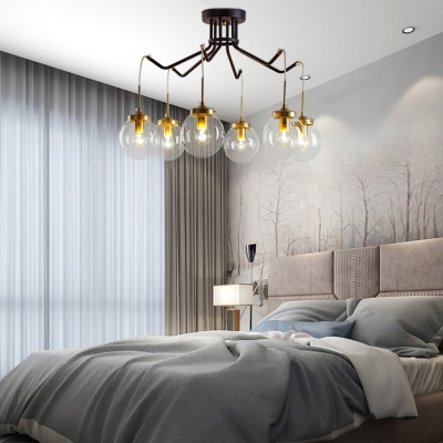 6 Lights Globe Chandelier European Style Metal and Glass Suspension Light in Black for Dining Room