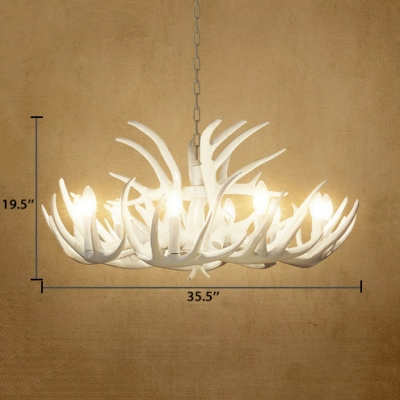 Antique Style Antlers Chandelier Resin 4/6/9 Lights White Hanging Light for Foyer Dining Room