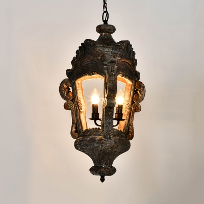 Antique Style Chandelier with Lantern Shape 3 Lights Metal and Wood Pendant Lighting for Foyer