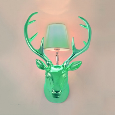 Bedroom Living Room Sconce Resin Single Light Antique Style Wall Light with Deer Decoration and Tapered Shade