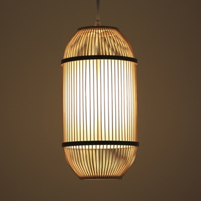 Beige Ceiling Light Fixture Single Light Vintage Style Pendant Lighting for Restaurant Coffee Shop