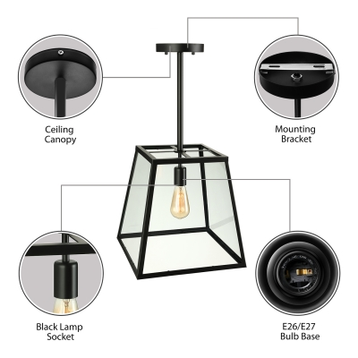 Black 1 Light LED Pendant with Clear Beveled Glass