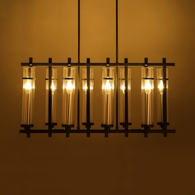 Black Cylinder Shade Island Pendant 8 Lights Industrial Metal and Clear Glass Island Light for Kitchen Bar