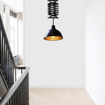 Black/White Dome Shade Extendable Pendant Light Industrial Glass 1 Light Hanging Lighting for Cafe Restaurant