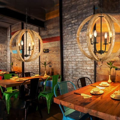 Candle Dining Room Chandelier with Globe Shade Metal and Wood 4 Lights Rustic Style Pendant Light
