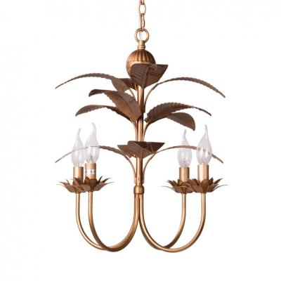 Candle Shape Chandelier Light with Leaf Decoration Metal 4 Lights Antique Style Hanging Light in Gold