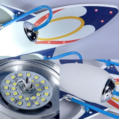 Cool Plane Pattern Ceiling Mount Light Girl Boy Bedroom Decorative Wood Acrylic LED Light Fixture