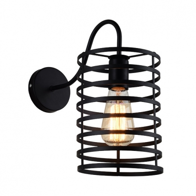 Cylinder Wall Lamp in Rustic Style Hallway Metal Cage Single Bulb Sconce Light in Black