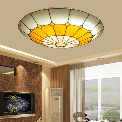 Dome Living Room Ceiling Light Stained Glass Tiffany Style Flush Mount Light