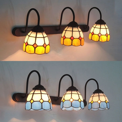 Dome Living Room Sconce Light Stained Glass 3 Lights Tiffany Style Wall Light in Blue/Yellow