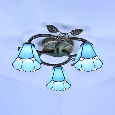 Hand Made Cone Ceiling Light Dining Room 3 Lights White/Blue Glass Tiffany Style Semi Flush Mount Light