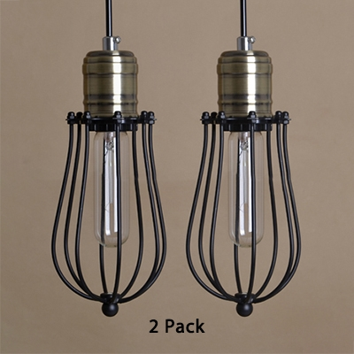 Wire Frame Restaurant Pendant Lighting Pack of 2 Metal 1 Light Industrial Ceiling Light in Black