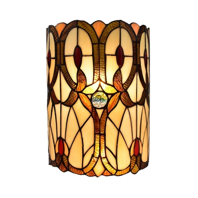 Stained Glass Cylinder Sconce Light Tiffany Style Antique Wall Lamp for Dining Room Living Room