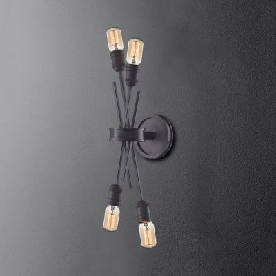 Industrial Style Open Bulb Wall Light 4 Lights Metal Sconce Wall Light in Black/Chrome for Bar
