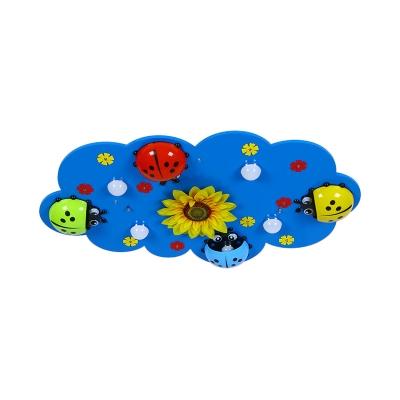 Ladybug Sunflower Pattern Light Fixture Wood Blue LED Flush Mount Light for Girl Boy Room