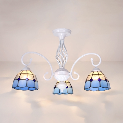 Metal Cone Semi Flush Light Dining Room 3 Lights Tiffany Style Ceiling Light in White/Sky Blue/Blue