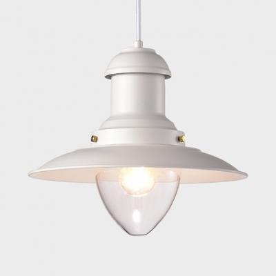 Metal Saucer Shape Pendant Lamp Study Restaurant Single Light Antique Style Hanging Light in White/Black, HL518348, Black;white