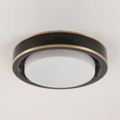 Modern Round Ceiling Fixture Glass Brass/Black Flush Mount Light in White/Warm for Hallway