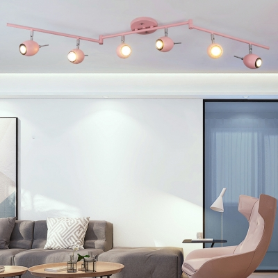 Pink/Blue/Gold LED Spot Light Angle Adjustable 6 Heads Wireless Ceiling Light for Bedroom Dining Room
