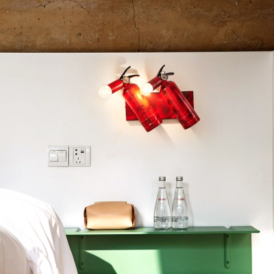 Red Fire Extinguisher Shape Wall Light 2 Lights Vintage Style Metal Wall Lamp for Dining Room