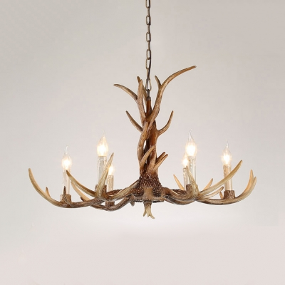 Rustic Style Candle Chandelier with Deer Horn Decoration 3/6/8 Lights Resin Pendant Chandelier for Restaurant