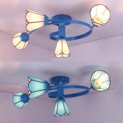 Rustic Style Cone Ceiling Light Glass 4 Lights White/Blue Semi Flush Mount Light for Bedroom