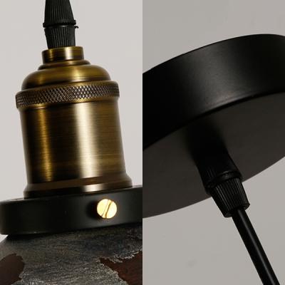 Shallow Round Hanging Light Single Light Rustic Height Adjustable Metal Pendant Lighting in Aged Brass