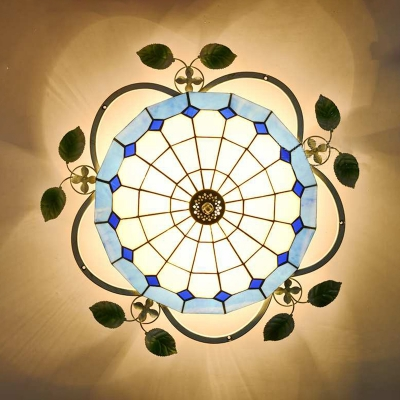 Tiffany Style Dome Ceiling Mount Light 3 Lights Stained Glass Flush Mount Light for Living Room