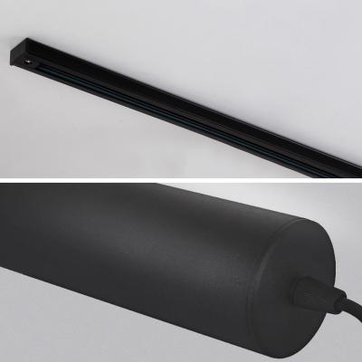 Tube Dining Room LED Track Light Aluminum 3/4/5 Lights Modern Pendant Lighting in Black