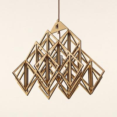Vintage Style Beige Ceiling Light Fixture With Shape Single Bulb Wood