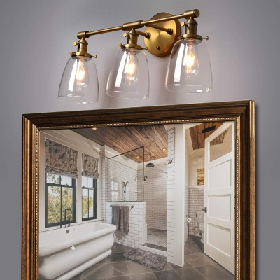 Vintage Style Brass Wall Lamp with Bell Shape 3 Lights Metal and Clear Glass Wall Light for Hallway