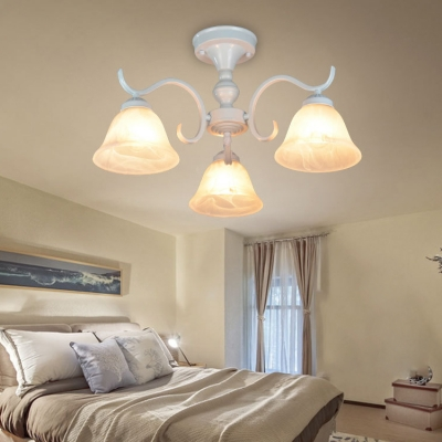 Vintage Style White Ceiling Lamp Bell 3/5/6 Lights Frosted Glass Semi Flush Light for Room