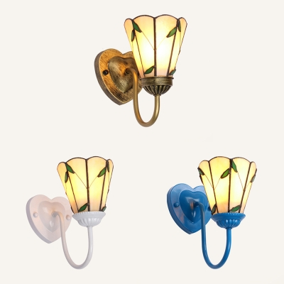 Vintage Up Lighting Wall Sconce 1 Light Metal and Glass Wall Light in White/Blue/Brass