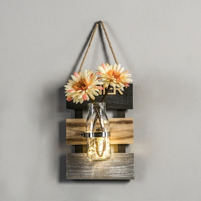 White/Pink/Yellow Flower String Light Beautiful Wood and Glass Fairy Light for Bedroom Living Room