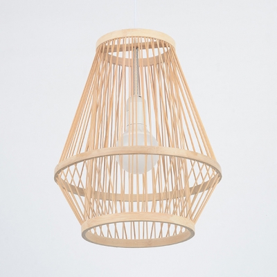 Dining Room Ceiling Light with Shape Rattan Single Light Pendant Lighting in Beige