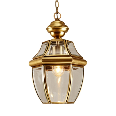 Antique Style Brass Hanging Light Single Light Metal and Clear Glass Ceiling Light for Kitchen Bar