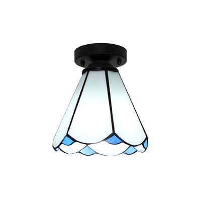 Antique White/Clear/Beige Flush Mount Light Cone 1 Light Glass Ceiling Light for Hallway