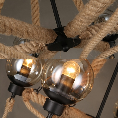 Beige Globe Shade Hanging Lamp 6/8 Lights Antique Style Glass and Rope Chandelier for Living Room