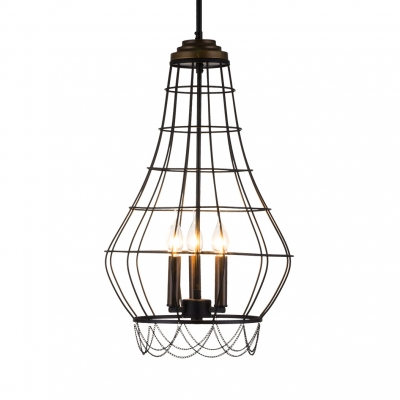 Black Candle Hanging Light with Wire Cage 3 Lights Industrial Metal Chandelier Dining Room Kitchen