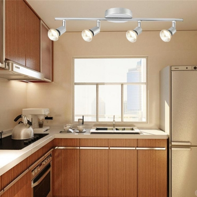 Black Silver Linear Semi Flush Light 4