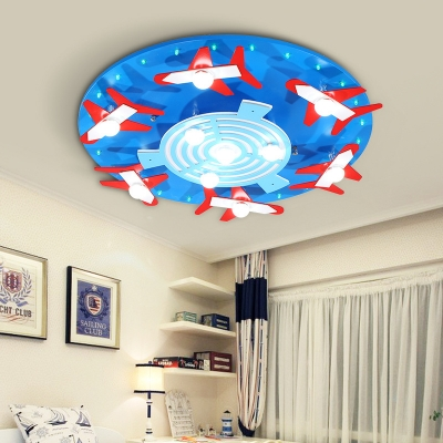 Blue/Pink Round Shape Flush Mount Light Plane Decoration Slim Panel LED Ceiling Light in White/Warm