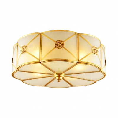 Brass Flower Flush Light 3/4/6 Lights Elegant Style Metal Ceiling Light for Living Room